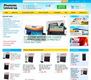 Online Shop solar panels and accessories «Photonic Universe», London.