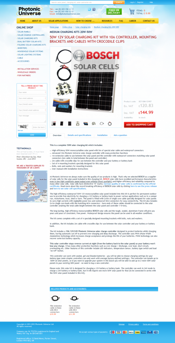 Online Shop solar panels and accessories «Photonic Universe», London.