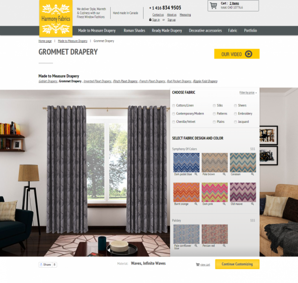 harmonyfabrics.com - Canadian online store curtains